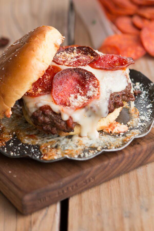 Pepperoni Pizza Burger ohsweetbasil.com