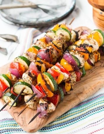Loving this Tuscan Grilled Chicken Kabobs recipe! ohsweetbasil.com