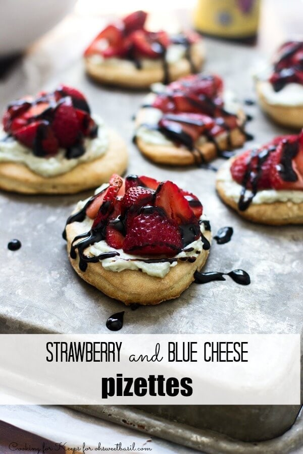 Pizettes with Macerated Strawberries and Whipped Blue Cheese Mascarpone