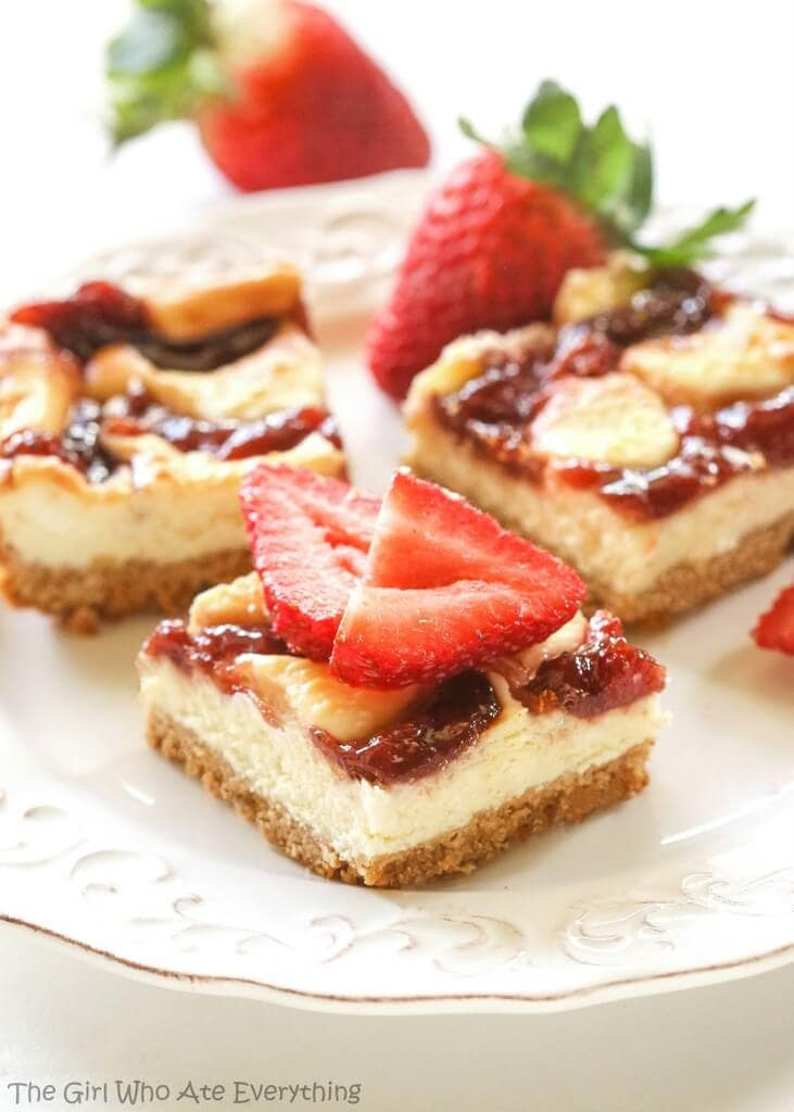 Strawberry Cheesecake Bars - Oh Sweet Basil