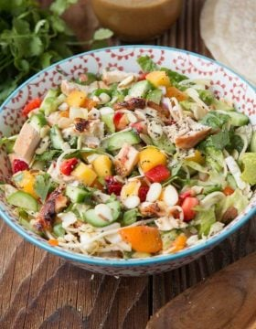 Mango Chicken Salad, actually it's more than that, it's the best dang dinner that everyone loves ohsweetbasil.com