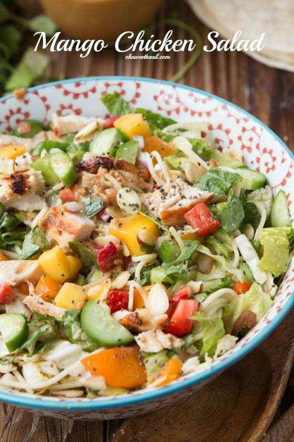 The only salad recipe you'll ever need and it's even better as a wrap, mango chicken salad. Mango Chicken Salad, actually it's more than that, it's the best dang dinner that everyone loves ohsweetbasil.com