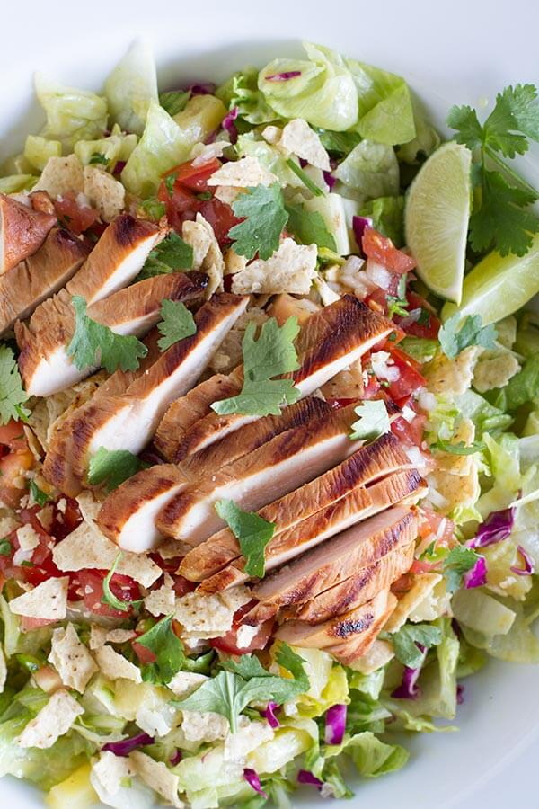 Grilled Caribbean Chicken Salad ohsweetbasil.com