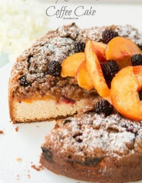 My favorite breakfast! Blackberry Peach Cobbler Coffee Cake ohsweetbasil.com