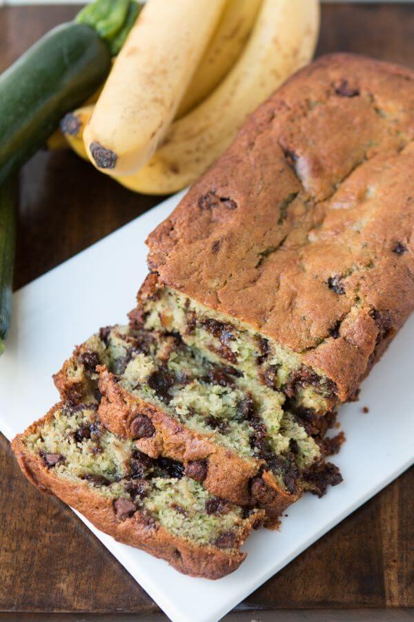 Chocolate chip banana zucchini bread on ohsweetbasil.com