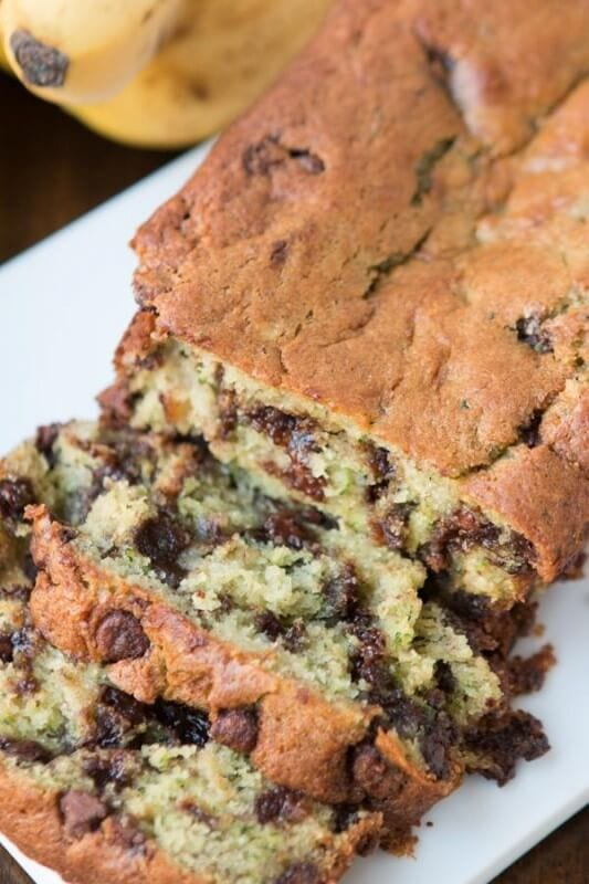 Chocolate Chip Banana Zucchini Bread is one of my new all time favorites! ohsweetbasil.com