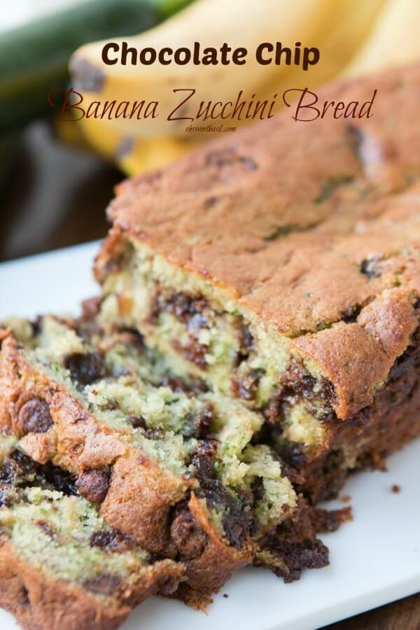 I may never make a regular banana bread again! This one is ridiculously moist and you'd never know there's zucchini in there because it's so fine! ohsweetbasil.com