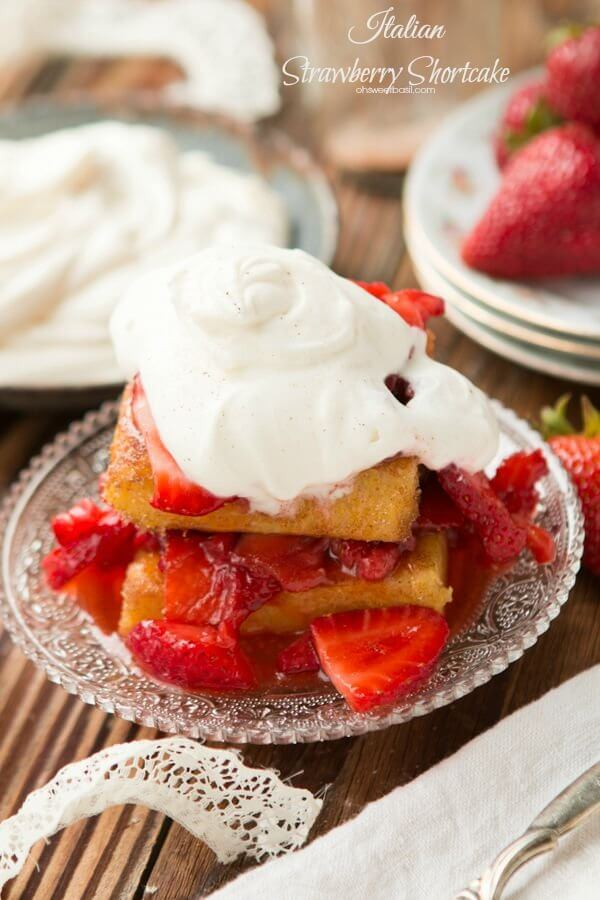 Killer Italian strawberry shortcake with mascarpone whipped cream ohsweetbasil.com