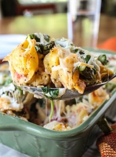 Easy Cheesy Asparagus Tortellini Bake from The Food Charlatan
