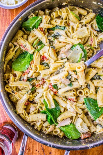 Pesto Chicken Pasta with Sun-Dried Tomatoes and Artichokes