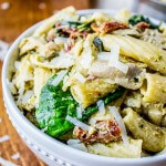 Pesto Chicken Pasta with Sun Dried Tomatoes and Artichokes
