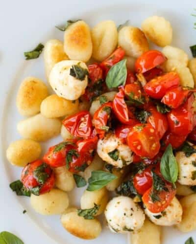 Easy Caramelized Gnocchi with Cherry Tomatoes and Mozzarella from The Food Charlatan