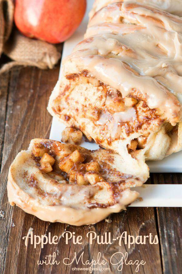 This is our new breakfast tradition, apple pie pull apart bread with maple glaze and it only takes frozen roll dough to get started!