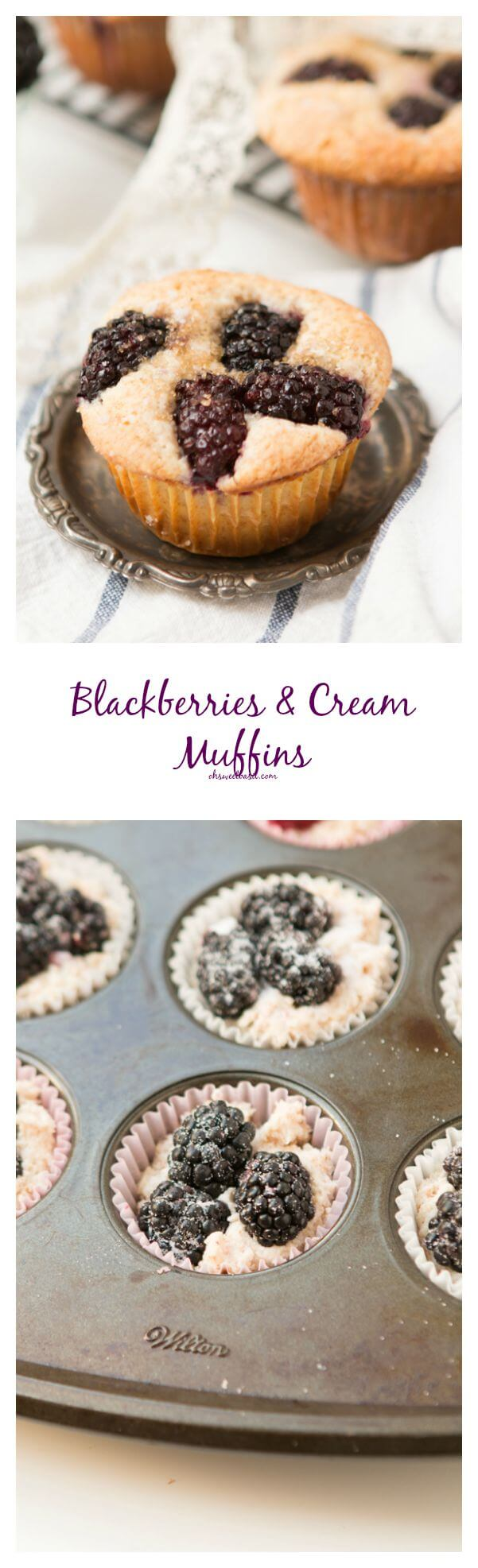 blackberries and cream muffins ohsweetbasil.com