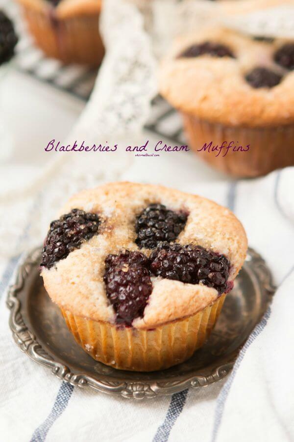 Blackberries and cream muffins with a crunchy sugary topping. ohsweetbasil.com