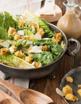 Caesar salad with polenta croutons ohsweetbasil.com