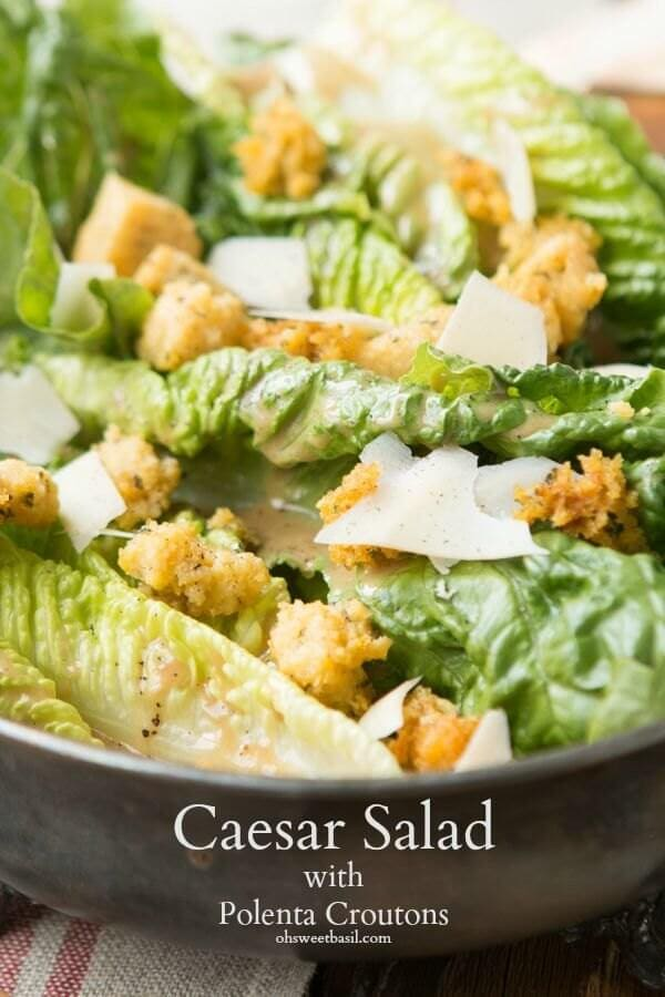 Totally craveable Caesar salad with fried polenta croutons! Plus how a hashtag can feed a child. ohsweetbasil.com