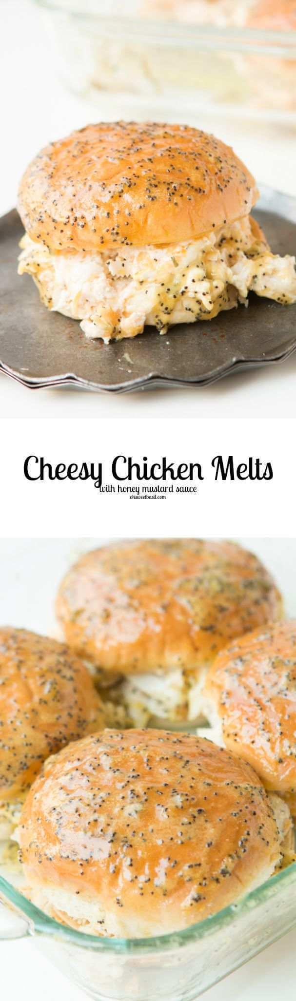 Cheesy chicken melts are the newest craze! You have to try them asap! That honey mustard sauce...yum! ohsweetbasil.com