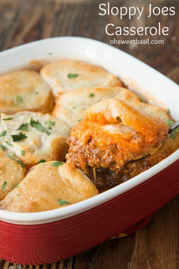 Sloppy Joes Casserole, yeah we went there. ohsweetbasil.com Pillsbury Grands Biscuits