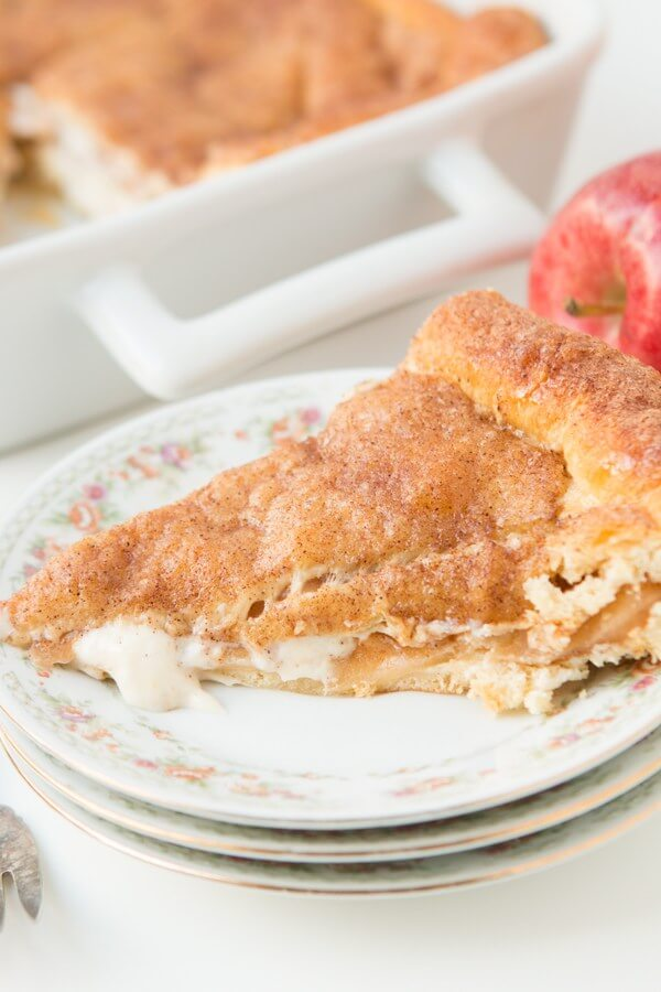 To die for, crescent roll apple pie cheesecake bars ohsweetbasil.com