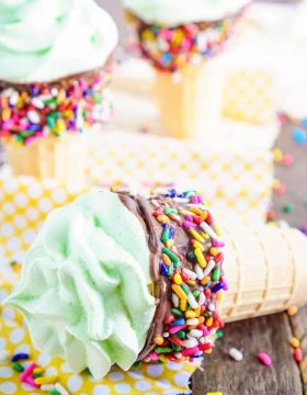 These Meringue Ice Cream Cones are everything you love about the classic summer treat without the mess! Plus, you can make them any flavor you want!