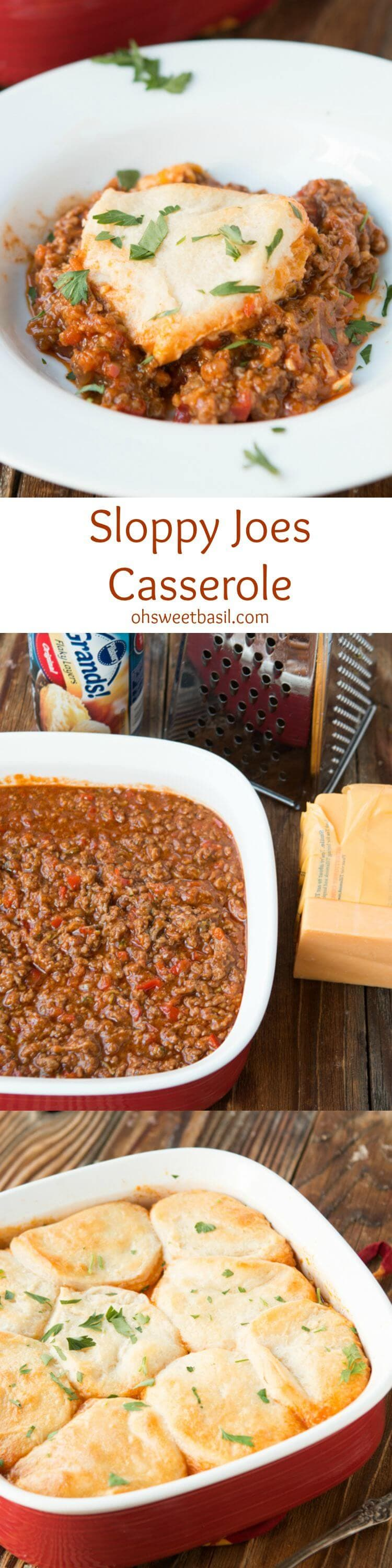 Kid friendly and adult craveable sloppy joes casserole! ohsweetbasil.com