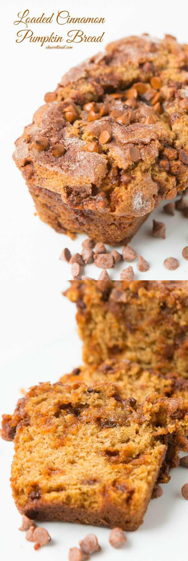 Loaded Cinnamon Chip Pumpkin Bread, your new holiday favorite! ohsweetbasil.com