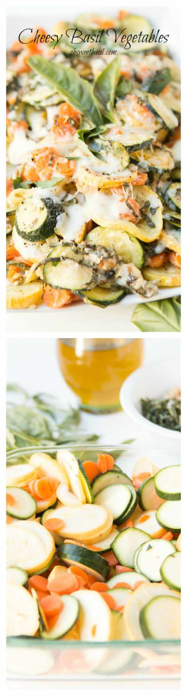 Want the best way to use up all of that squash and zucchini? Cheesy basil veggies! ohsweetbasil.com