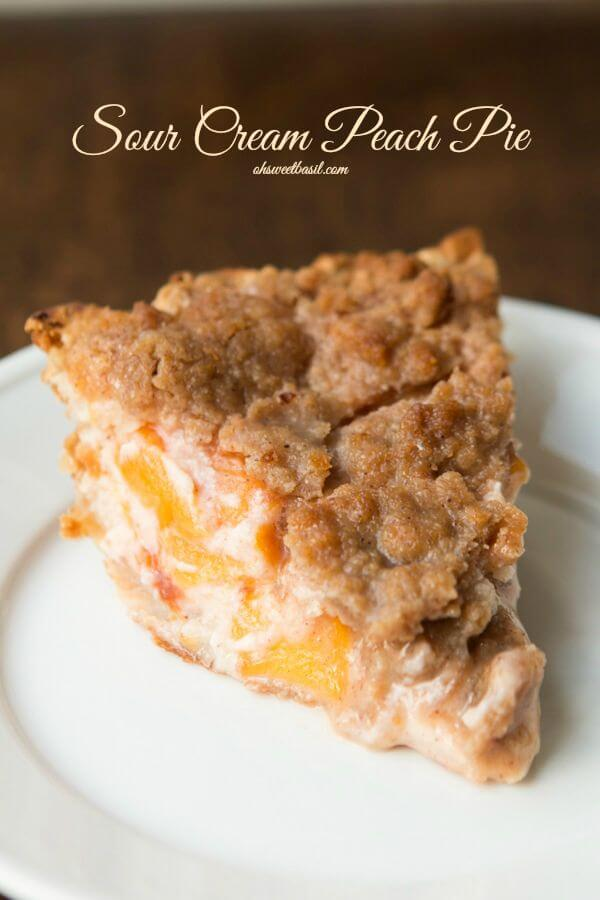 The absolute best pie that you have to try asap! Sour Cream Peach Pie ohsweetbasil.com
