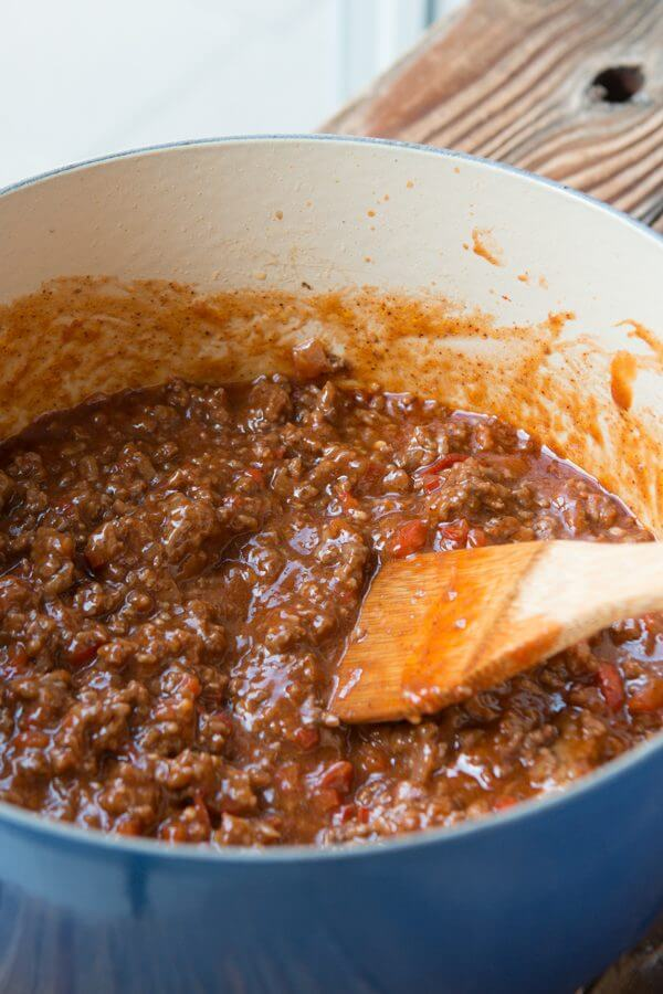 sloppy joes mixture in Dutch oven