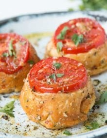 Tuscan Tomato Upside Down Chicken Pies are ready in just 30 minutes! ohsweetbasil.com