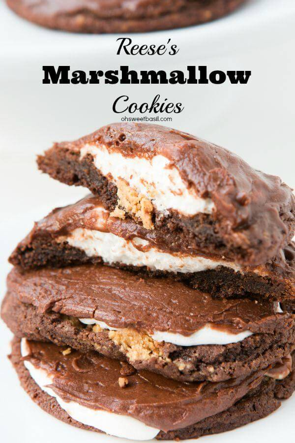 The best cookie of 2015! Chocolate Reese's Marshmallow frosted cookies! ohsweetbasil.com
