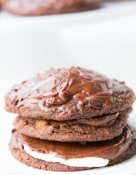 The best cookie of 2015! Reese's Marshmallow chocolate cookies! ohsweetbasil.com