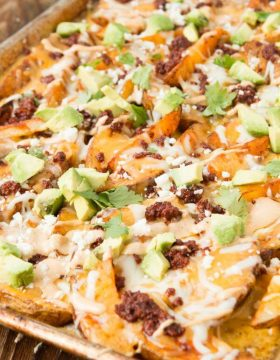 Holy cow, these are amazing! Chorizo loaded cheese potatoes appetizer! ohsweetbasil.com