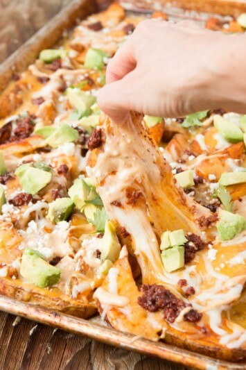 The ONLY appetizer you need for parties, chorizo cheesy loaded potatoes ohsweetbasil.com