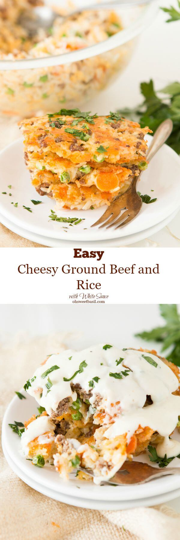 On of our favorite meals lately just uses the leftovers in the fridge, easy cheesy ground beef and rice cakes! ohsweetbasil.com