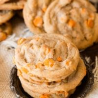 Delicious pumpkin spice chips only come out during the holidays and we love to make these spice cookies loaded with them. ohsweetbasil.com