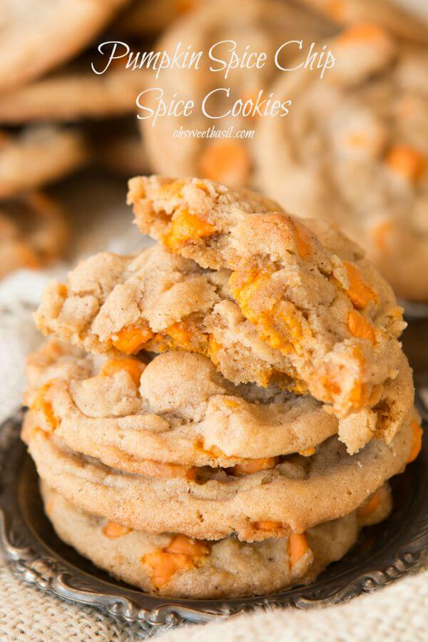 Pumpkin spice chips loaded into a soft and chewy spice cookie ohsweetbasil.com Halloween party