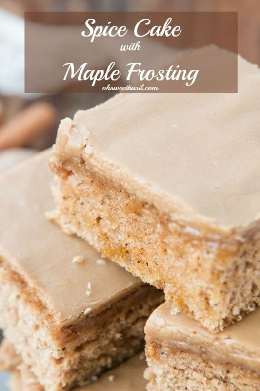 Spice Cake with Maple Frosting, and let's be honest the aroma that fills our house is amazing just like the taste. ohsweetbasil.com