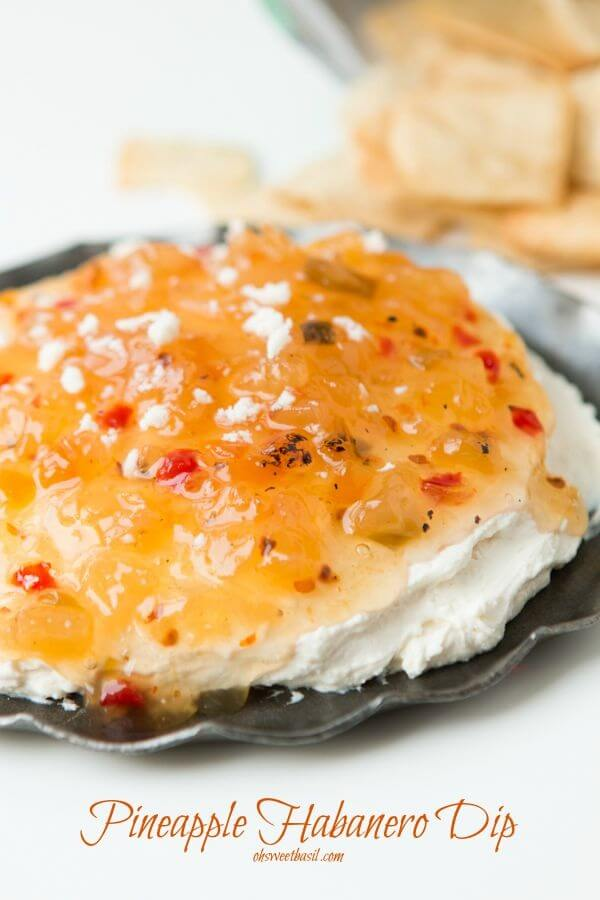 One of the easiest appetizers you could ever make and it's so good! Pineapple habanero dip! ohsweetbasil.com
