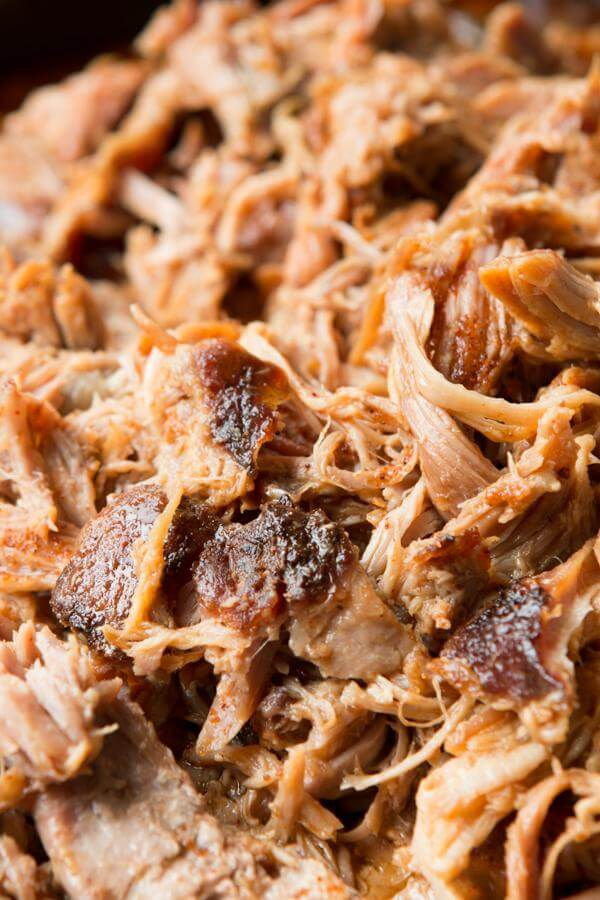 close up of homemade pulled pork