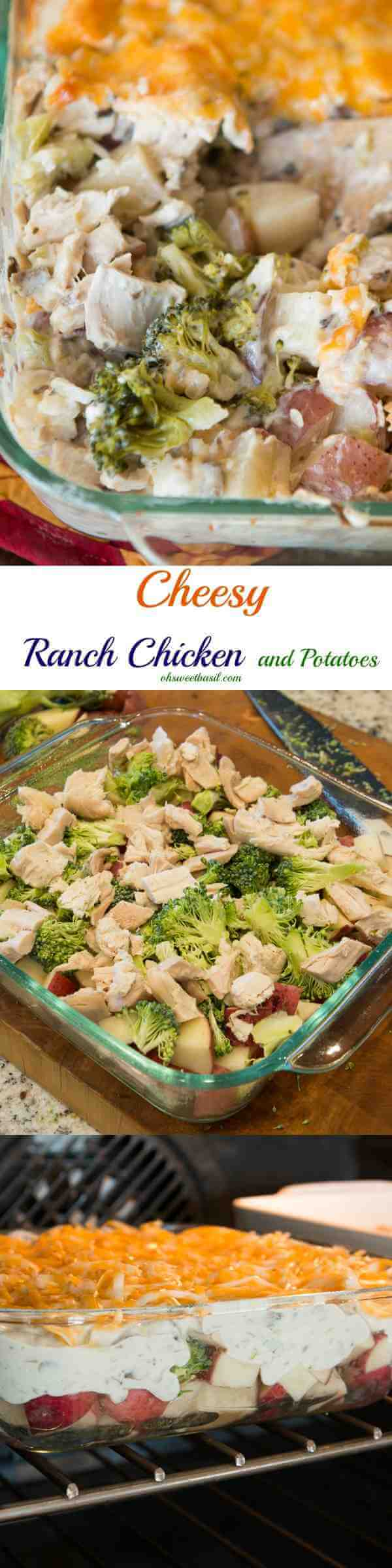 cheesy ranch chicken and potatoes casserole is such an easy way to use up leftovers! ohsweetbasil.com