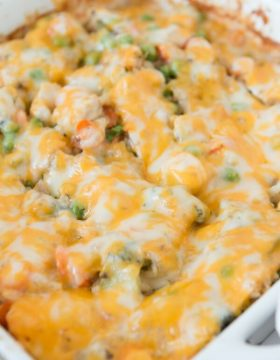 Everyone's favorite cheesy ranch chicken and rice casserole ohsweetbasil.com