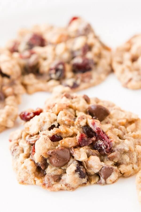 My new favorite cookie loaded with oats, chocolate chips, milk chocolate toffee and craisins! ohsweetbasil.com