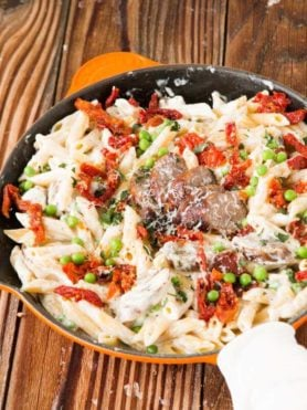 Easy Sausage Alfredo Pasta ohsweetbasil.com