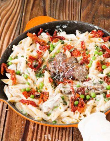 Easy Sausage Alfredo Pasta ohsweetbasil.com
