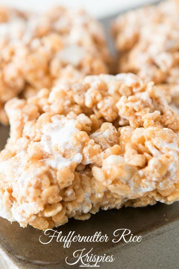 Gooey Fluffernutter Rice Krispies, oh yeah baby ohsweetbasil.com marshmallows, no-bake