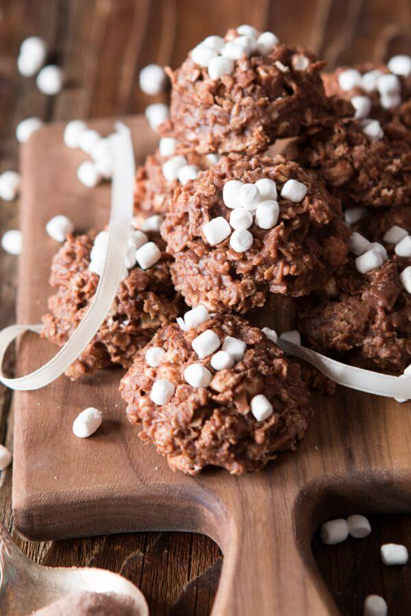 Our family has been making these hot cocoa no bake cookies practically every week all winter and I don't feel bad about it one bit.
