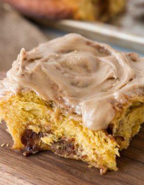 Maple glazed pumpkin pie cinnamon rolls ohsweetbasil.com