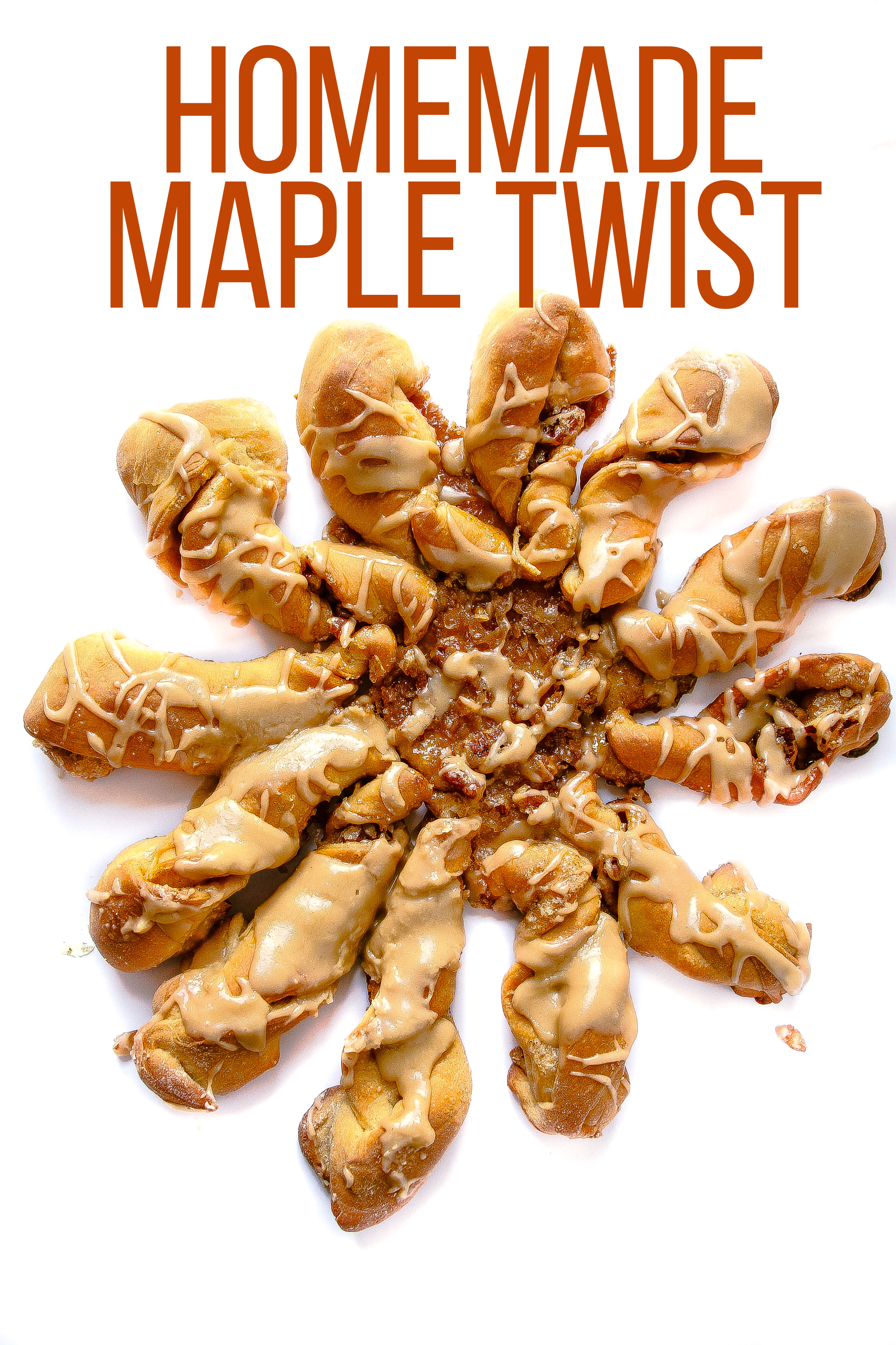 Soft and fluffy maple infused cinnamon roll twists covered in sweet maple glaze. Yum!